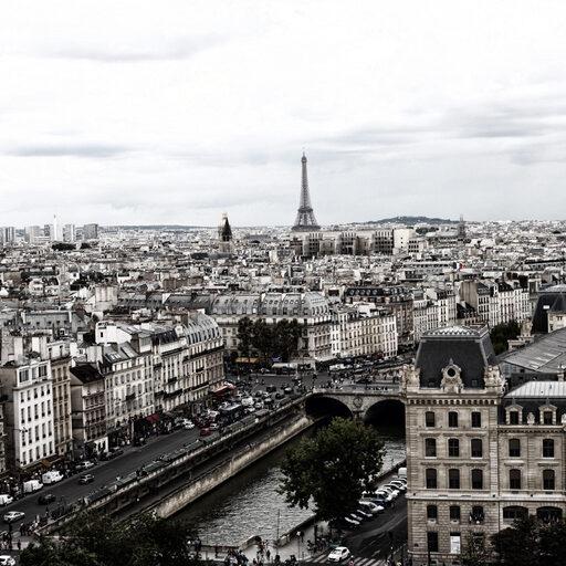 Париж. Эйфелева башня и собор Нотр Дам.