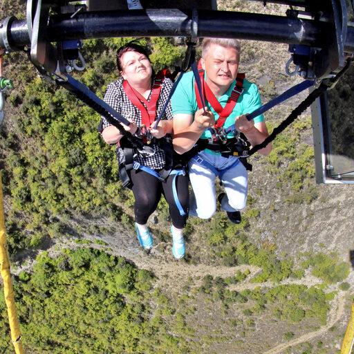 Nevis Swing Bungy. 70 метров свободного падения. Вакуум.