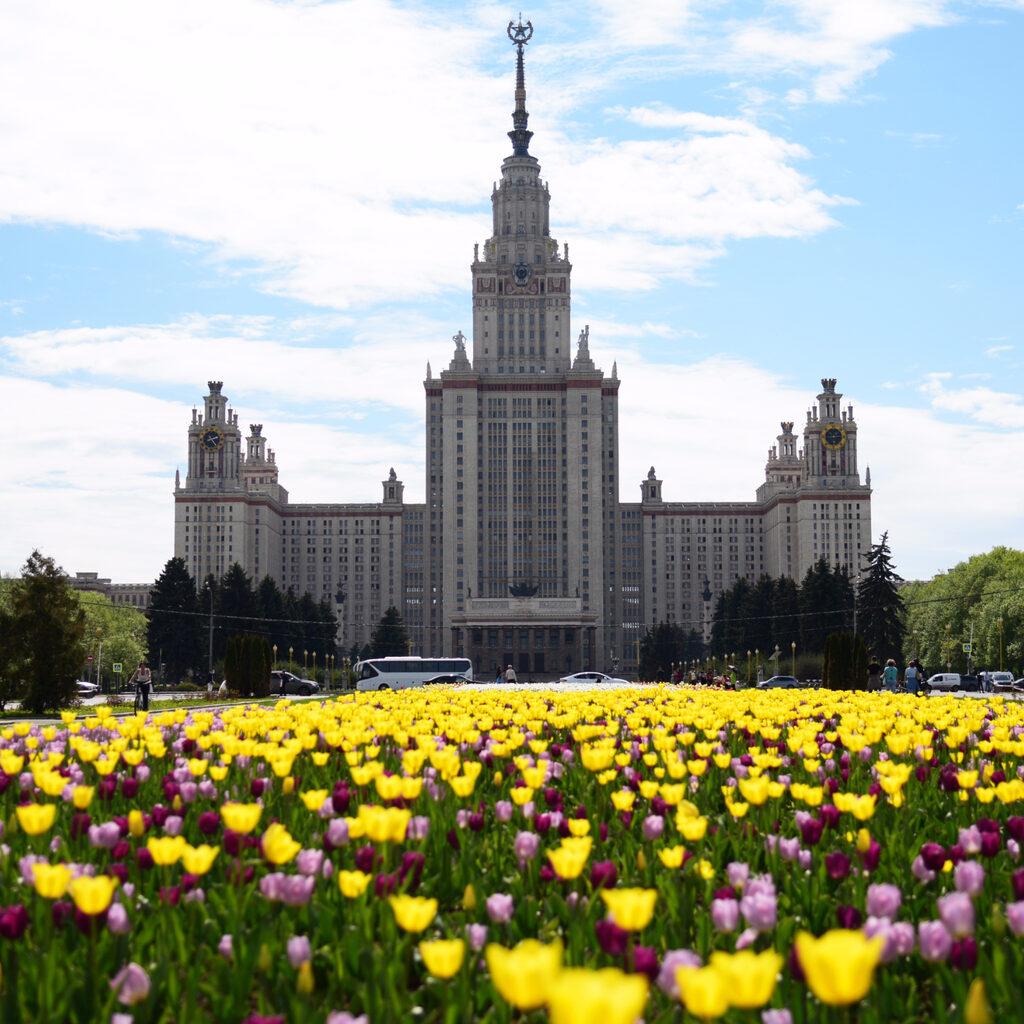 Ботанический сад МГУ и Лужнецкая набережная в мае.